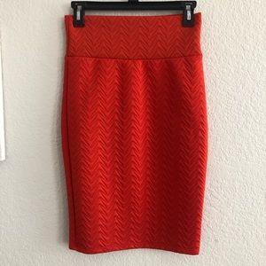 LuLaRoe Orange Cassie Quilted Pencil Skirt